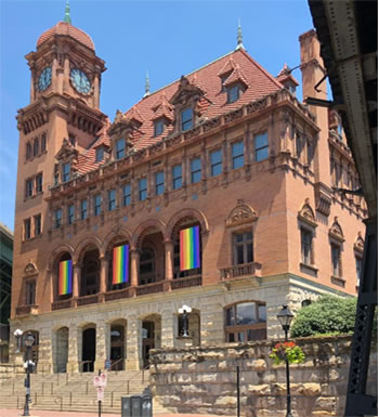 Main St Station rainbow banners